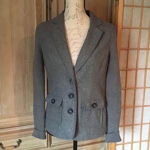 Cabi Grey Knit Blazer Sweater Sz Small w Pockets